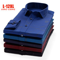XL 12XL Luxury brand Business shirts men bamboo fiber dress men shirts full sleeve big size shirts men 150kg camisa social