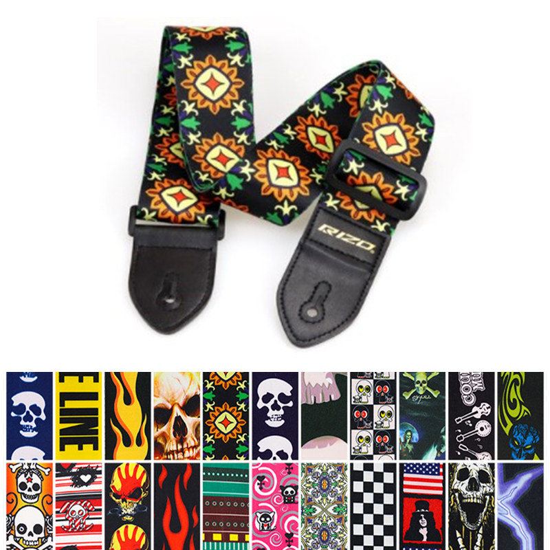 Adjustable Colorful Printing Pu Fiber Ukulele Straps Thickened National Style Ukelele Hawaii 4 Strings Guitar Strap Belt