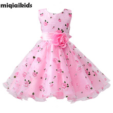 Retail Flower Dress Sashes Wedding Party Girl Dress Floral Print Baby Dress First Communion Kids Dresses Size: 100-150 L619