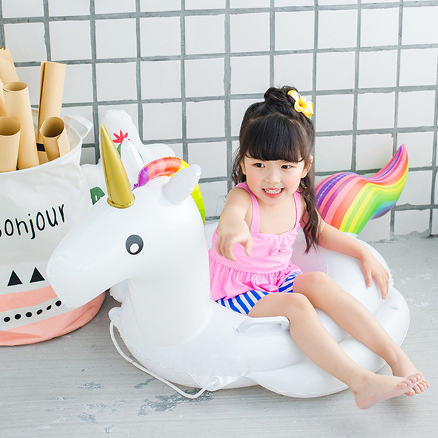 253f7746f133 US $14.39 20% OFF|Baby Swimming Ring Unicorn Seat Inflatable Pool Float  Baby Summer Water Fun Pool Toy Kids -in Swimming Rings from Sports & ...