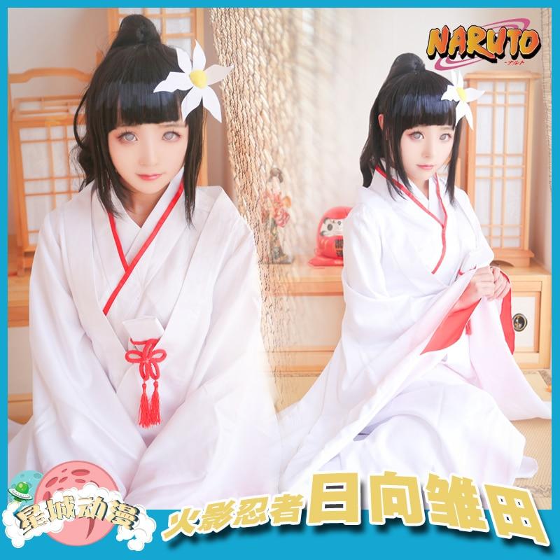 Anime NARUTO COSPLAY Hyuga Hinata COS Halloween Party For MEN WOMEN Cosplay Kimono suit Costume Free