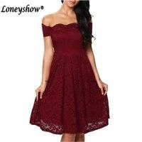 Loneyshow Sexy Vintage Floral Lace Dress Women Elegant Long Sleeve Slash Neck 50s 60s Retro Style