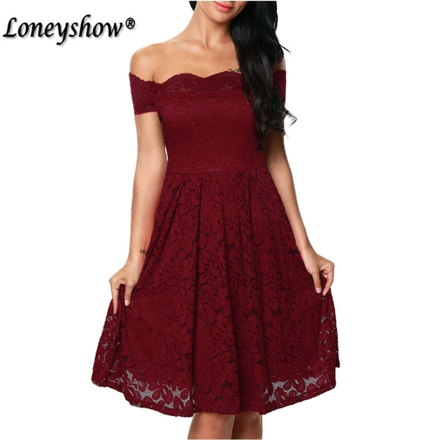 Loneyshow Sexy Vintage Floral Lace Dress Women Elegant Long Sleeve Slash Neck 50s 60s Retro Style Swing Wedding Party Dress