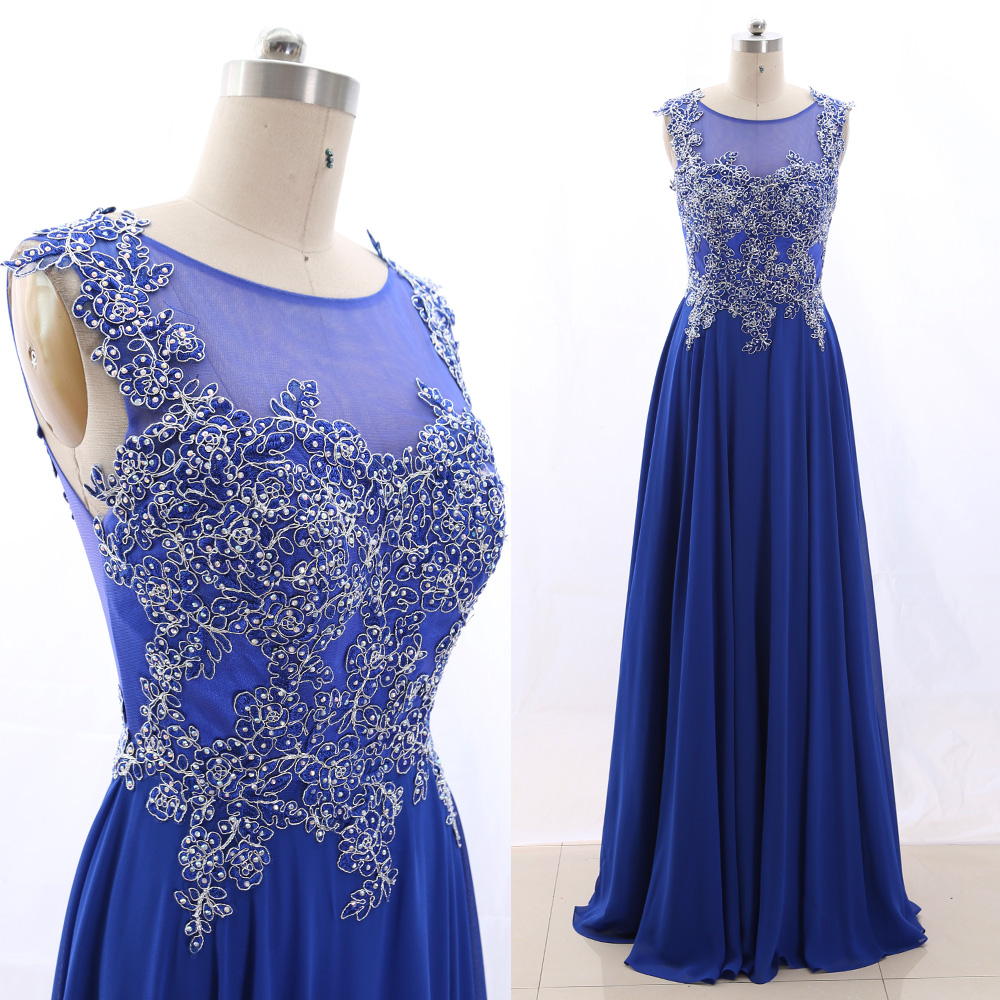 MACloth Blue 0 Scoop Neck Floor-Length Long Embroidery Tulle   Prom     Dresses     Dress   M 265771 Clearance