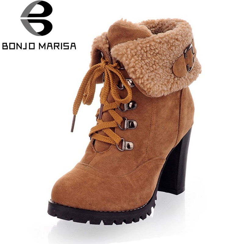 BONJOMARISA Women Winter Snow Ankle Boots Lace Up High Heels Platform Warm Fur Shoes Woman Botas Mujer Big Size 34-43 plus size 34 43 2016 patch color ankle boots thick high heels skid proof platform shoes woman rivets lace up fall winter boots