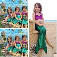 Ariel The Little Mermaid Tail Princess Ariel Dress Cosplay Costume For Girl Kids Fancy Dress Bikini Swimsuit