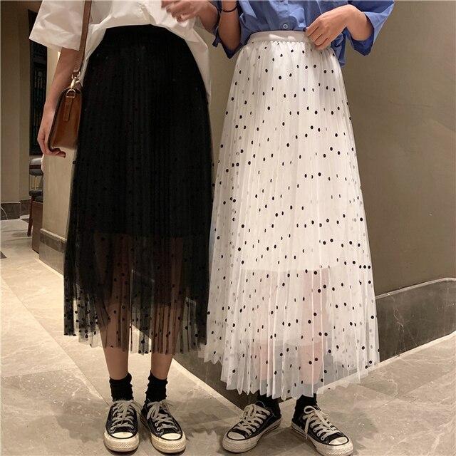 dfb33f37db Chiffon Long Skirt Women Summer 2019 Korean Style Vintage Polka Dot Elastic  Waist Pleated Skirt Black