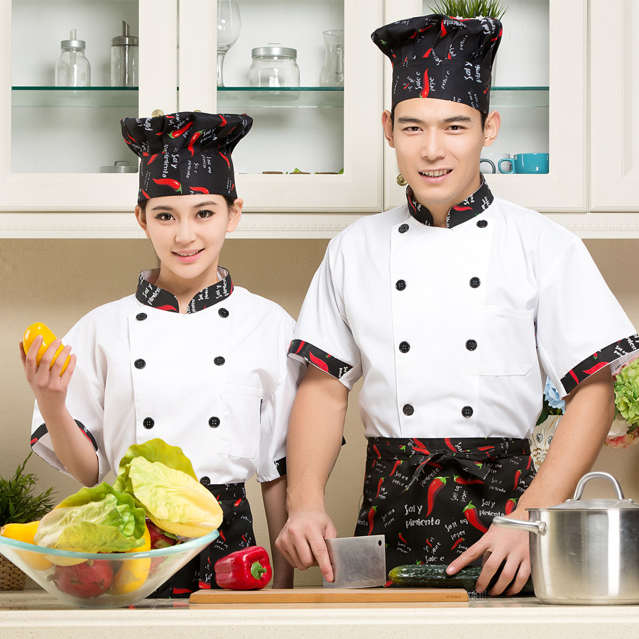 High Quality Chef Uniforms Clothing Short Sleeve Men Food Services Cooking Coat Plus Size Uniform Chef Jackets B-6238