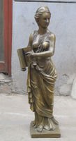 008557 31Western Art Bronze sculpture Statue charming nude woman belle BOOK beauty
