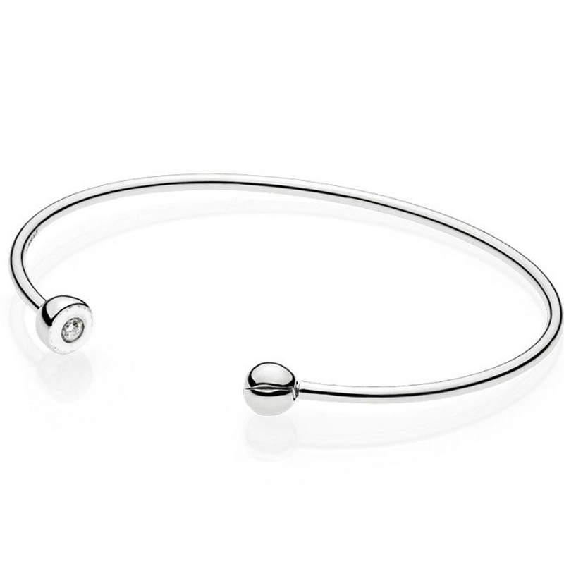 925 Sterling Silver Bangle ESSENCE COLLECTION Polished Bead Open Bracelet Bangle Fit Women Bead Charm DIY Pandora DIY Jewelry slovecabin 2017 new unique moment open bangle bracelet for women 925 sterling silver pave stone open bangle for bead diy jewelry
