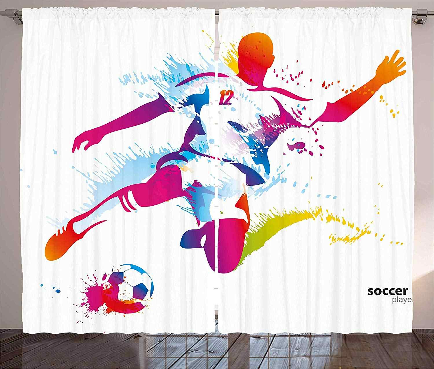 Teen Room Decor Curtains Soccer Player Kicks The Ball Watercolor Style Spray Championship Living Room Bedroom Window Drapes