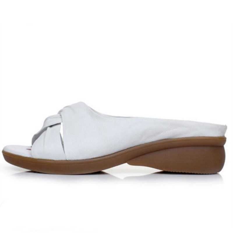 Las Mujeres Casual blanco Sandalias Verano Nuevo Cuero Moda rojo Negro Zapatillas Elegante Comodidad Zapatos 2019 Cuñas Más Genuino De El 7wfRpP