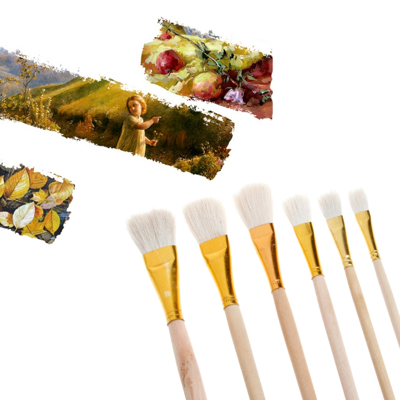6Pcs Artist S Paint Brush Set Wool Hair Watercolor Acrylic Oil Painting Drawing Painting Supplies Paint Brushes