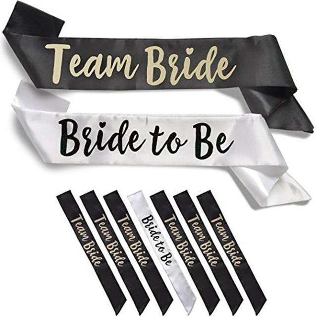 white black team bride sash wedding bridal shower bachelorette bridesmaids shoulder strap wedding photo props party