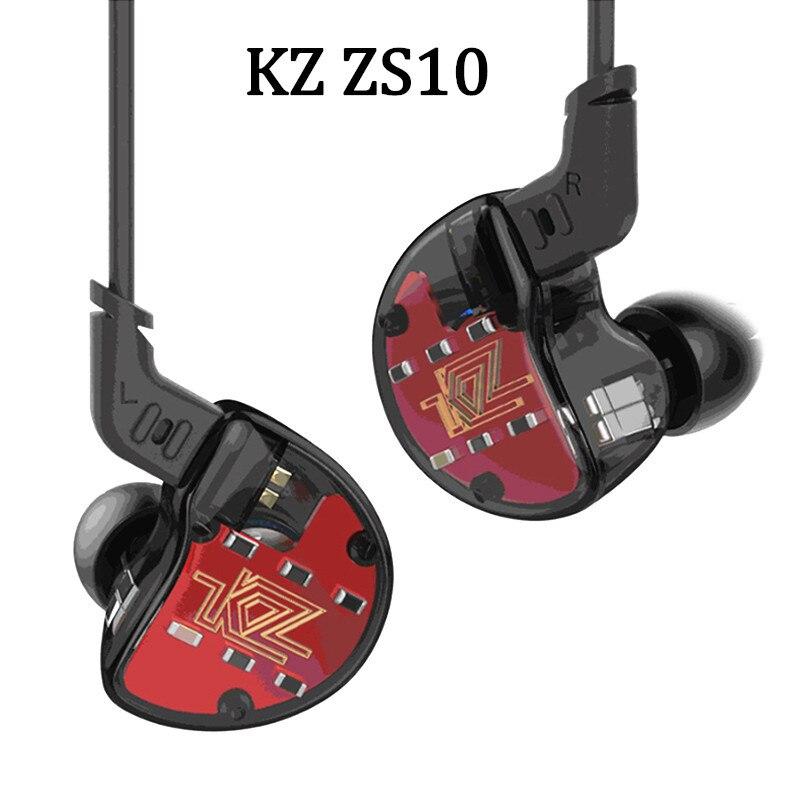 Original KZ ZS10 4BA+1DD Hybrid In Ear Earphone HIFI DJ Monito Running Sport Earphones Earplug Headset Earbud Drop Shipping in stock zs5 2dd 2ba hybrid in ear earphone hifi dj monito bass running sport headphone headset earbud fone de ouvid for xiomi