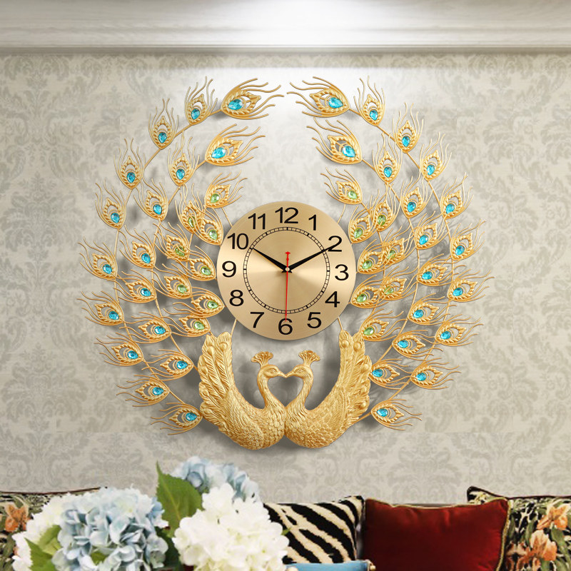 Double Peacock Wall Clock Modern Design Home Decor Art Wall Watch Living Room Bedroom Silent Clock