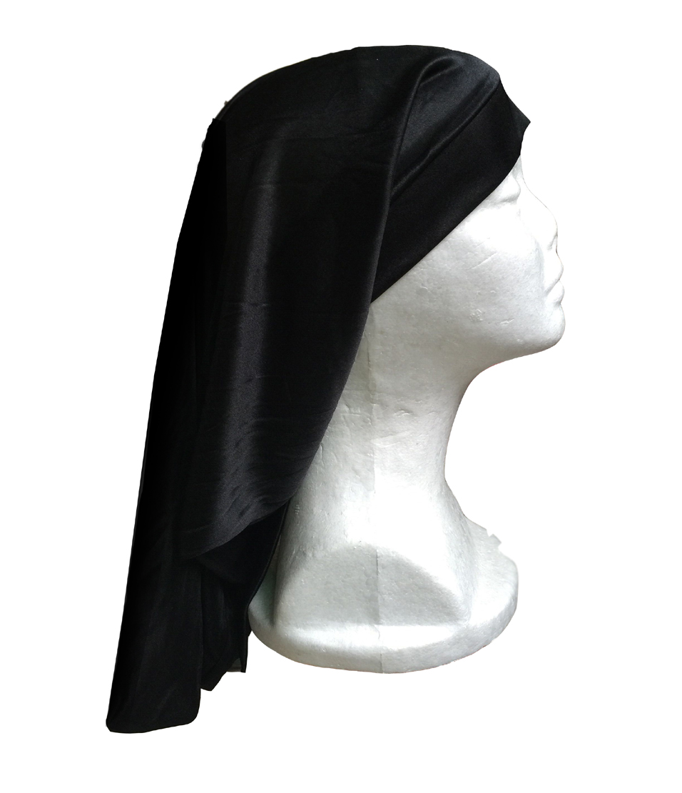 Black Bag Hat Protection Wrap Cap Straight and Big Space good for lot hair chifres malevola png