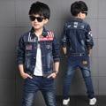 Jungen Denim Jacke & Jungen Jeans 2 stücke Kleidung Set Junge Oberbekleidung Denim Hose Jungen Kleidung für 3 4 6 8 10 12 13 jahre Alt RKS175001