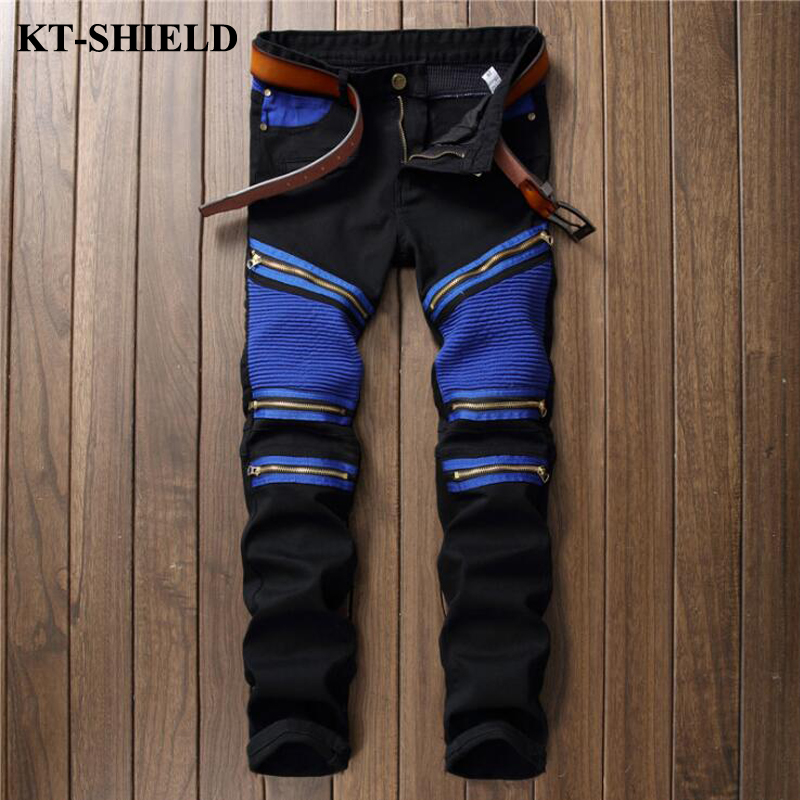 Mens Skinny Jeans Brand Designer Ripped Jeans for Men Biker Denim Trousers Fashion Male Luxury Distressed Pants 100% Cotton 2017 fashion patch jeans men slim straight denim jeans ripped trousers new famous brand biker jeans logo mens zipper jeans 604