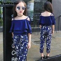 YorkZaler Newest 2017 Summer Girls Clothes Set Slip Batwing Sleeve T Shirt Print Floral Pants 2