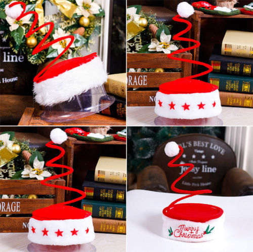 Spiral Spring Santa Hat Headwear Headgear Novelty Xmas Accessory Cap Christmas  Beanies Hats