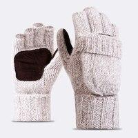 Высокое качество плюс толстый мужской пальцев Прихватки для мангала Для мужчин Шерсть теплые зимние открытые палец варежки вязаные теплые ...