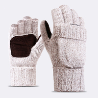 High Quality Plus Thick Male Fingerless Gloves Men Wool Winter Warm Exposed Finger Mittens Knitted Warm