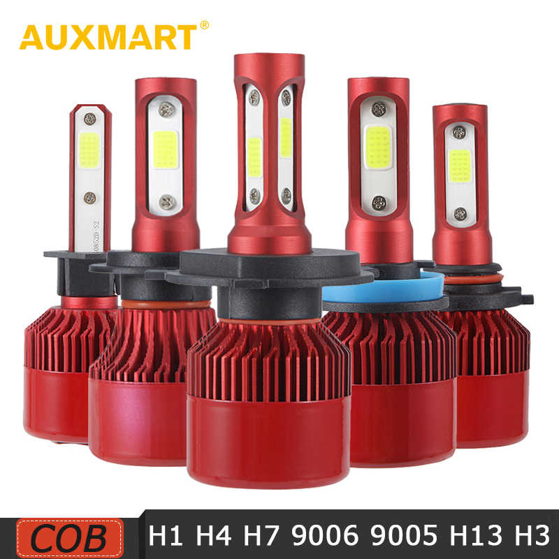 Auxmart 70W 7000LM H4 H7 H11 H1 Car LED Fog Light Bulbs COB Chips 9005 9006 H3 Auto LED Headlight Bulbs 6500K 4300K 12V 24V Red