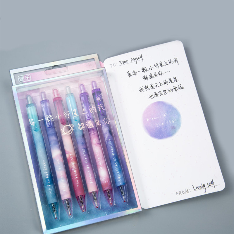 Starry Sky Gel Pen 6 Pcs / Set Boligrafo Set Kawaii Material Escolar Cute Kalem Gel Pens Stationary Papelaria