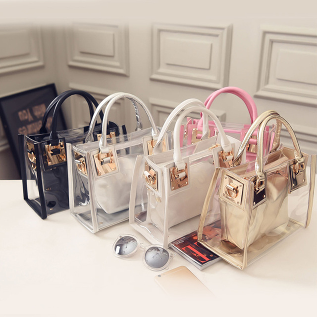 640b83092558 2pcs 2017 New Fashion Women Clear Transparent Shoulder Bag Jelly Candy  Summer Beach Handbag Woman Messenger Bags Bolsa Feminina-in Shoulder Bags  from ...