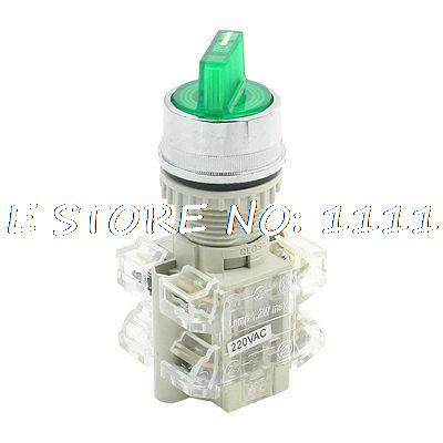 цена на AC 220V Rotary Selector 2 Position 6 Pin Green Light Push Button Switch