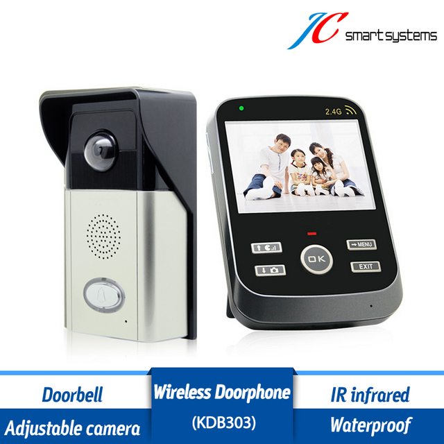 "Long standby 2.4G wireless intercom system video door phone with 3.5"" indoor monitor & outdoor adjustable camera"