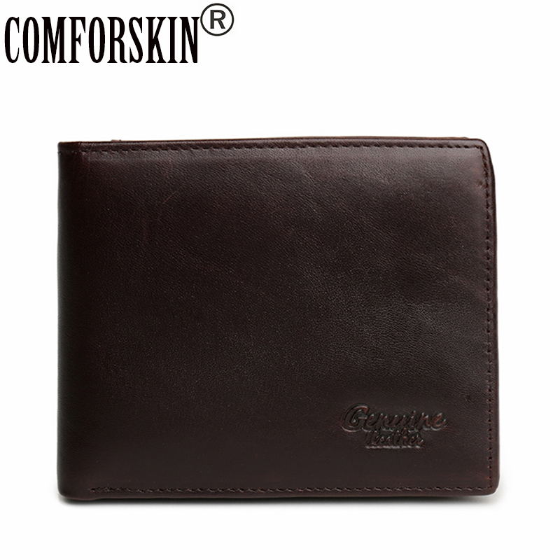 COMFORSKIN New Arrivals Premium Genuine Leather Short Large Capacity Men Organizer Wallets Solid Vintage Business Coin Purses long wallets for business men luxurious 100% cowhide genuine leather vintage fashion zipper men clutch purses 2017 new arrivals