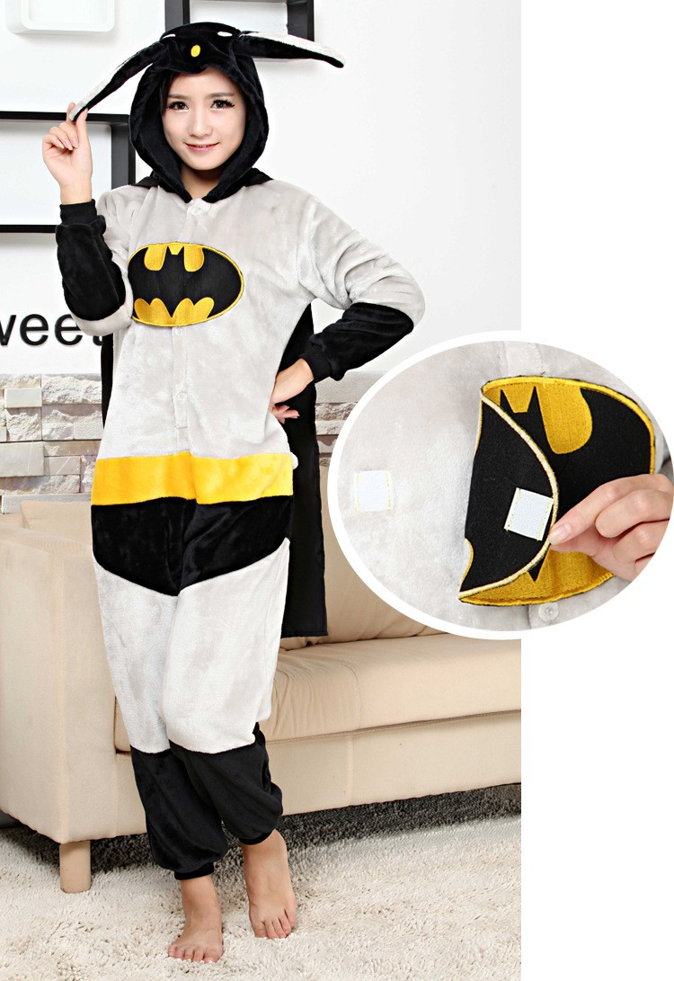 Cosplay Anime Batman Adult Cosplay Pajamas Unisex Onesie with Cloak Super Hero Fancy Dress Halloween Party