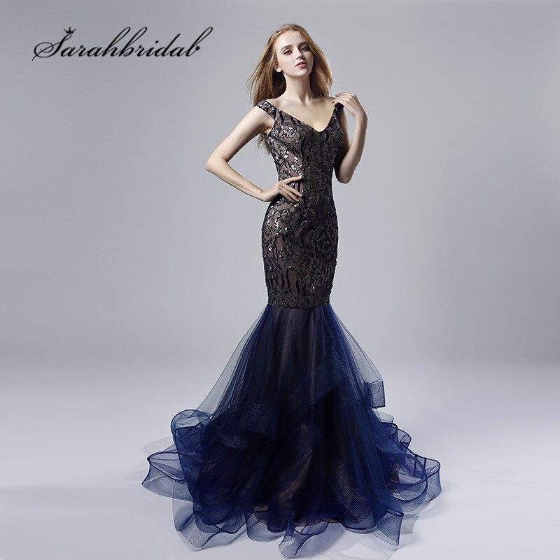 Navy Blue   Evening     Dresses   Long Mermaid Sexy V Neck Cap Sleeves Backless Vestido de Noche Ruffles Skirt Beaded Prom Gowns CC528