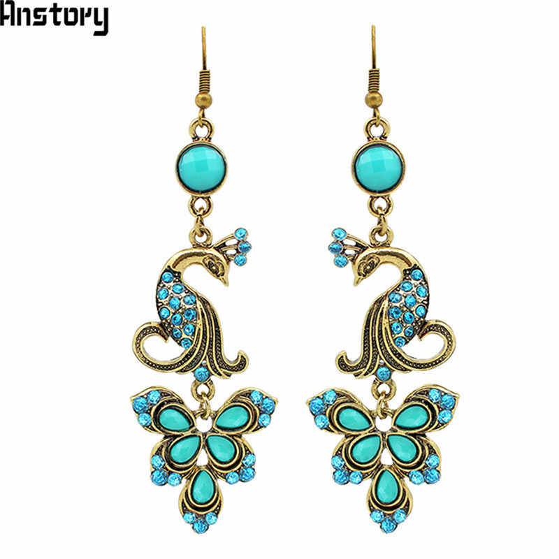 Peacock Pendant Crystal Peacock Earrings For Women Vintage Antique Bronze  Plated Party Gift Fashion Jewelry TE56 537057ccc096