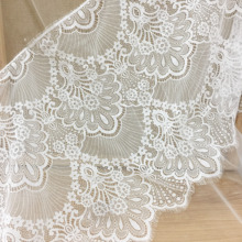 3 Meters/Lot Eyelash Chantilly Wedding Lace Fabric Trim in Off White , Scallop Bridal Veil Cape Shrug Vintage Style