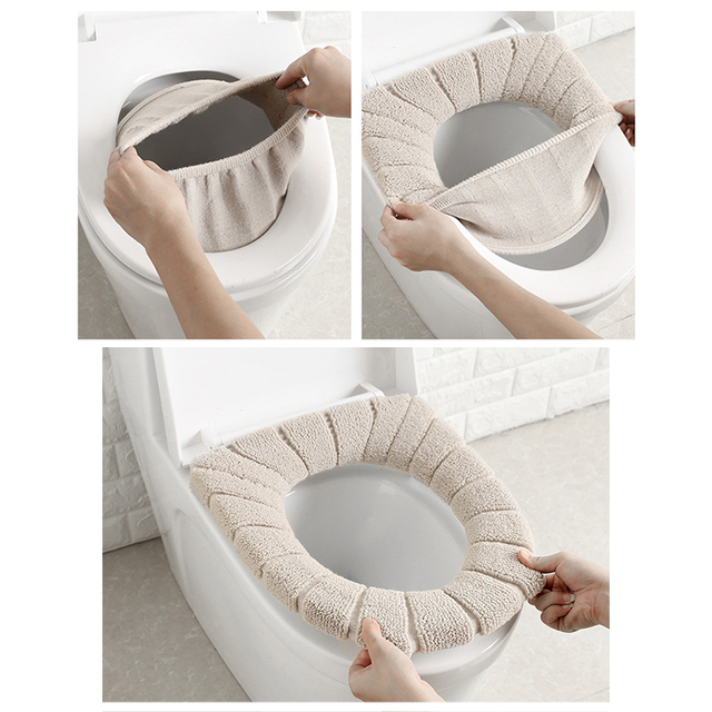 Kid/Adult Bathroom Filling Soft Thickened Seat Pads Washable Warmer Toilet Mat Cover Winter Comfortable 30cm Seat Cushion 2