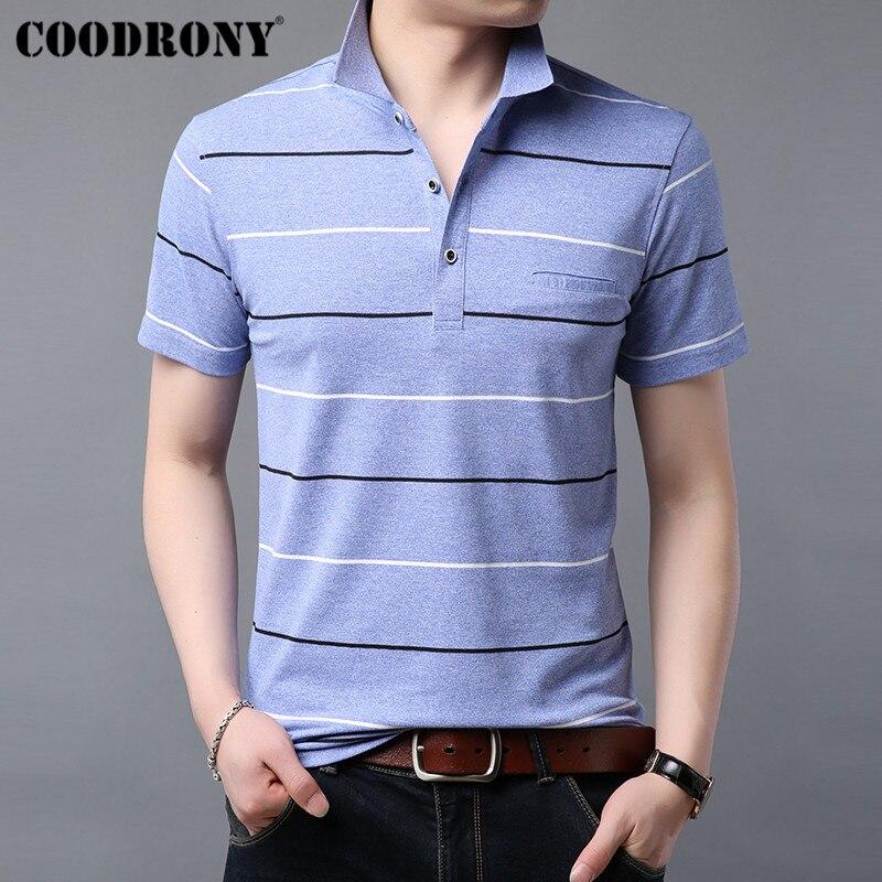 COODRONY Soft Cotton T Shirt Men Striped Short Sleeve Pocket T-Shirt Men Clothing Summer Streetwear Casual Men's T-Shirts S95059