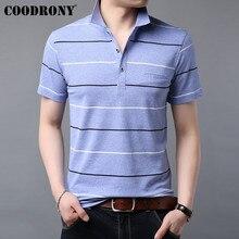 COODRONY רך כותנה T חולצה גברים פסים קצר שרוול כיס חולצה גברים בגדי קיץ Streetwear מקרית גברים של חולצות S95059