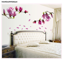 hot deal buy 50*70cm purple orchid orchid wall stickers living room bedroom decoration removable pvc decorative stickers vinyl wall stickers