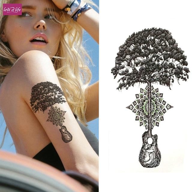 1pcsthe Tree Of Life Music Large Flower Henna Temporary Tattoo Black