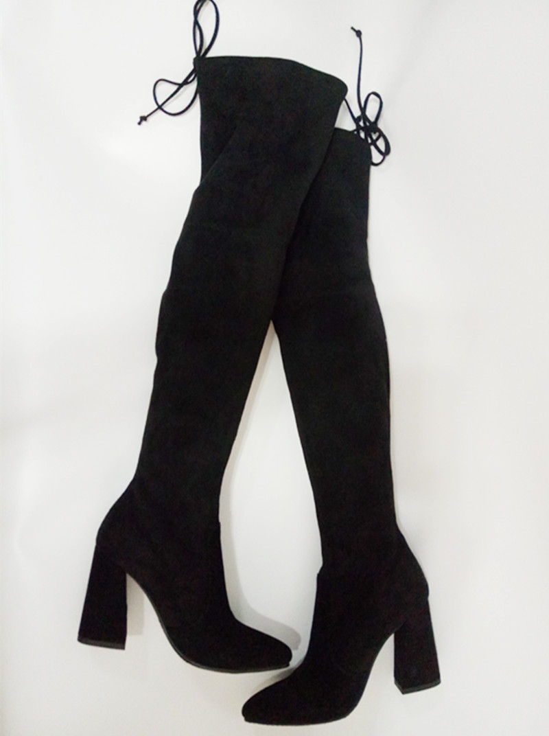hot selling thick heels woman long boots pointed toe stretch fabric thigh high boots 2017 over the knee high heel boots sexy stretch fabric thigh high boots pointed toe over the knee high heel boots woman long boots stiletto heels boots beige black