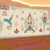 مخصصة 3d جدارية 3d التايلاندية الجدران جدارية خلفية غرفة نوم متجر ملابس الرقص اليوغا اليوغا الاستوديو مقهى جدارية