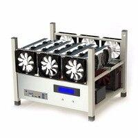 תואם 6 GPU Open אוויר מקרה מחשב ETH כורה כריית מסגרת מערכת Rig עם 6 אוהדים וצג טמפ 'פיזור חום טוב