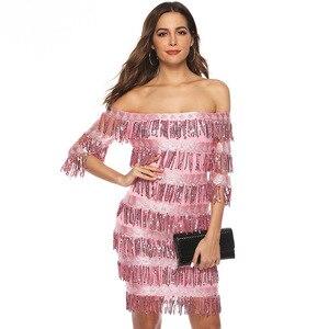 Image 3 - Сексуальные розовые короткие коктейльные платья до колен 2019, кружевное платье с блестками и бахромой с рукавом до локтя, официальное вечернее платье, халат, коктейльное платье для выпускного вечера