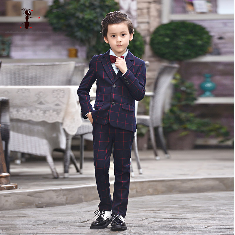 Kung Fu Ant Children Suits( Blazer + Pant+ Shirt+Vest+ Tie) Fashion Casual Costume Enfant Garcon Mariage Wedding for Boys D162 kung fu ant 2017 uk style vest shorts shirt and bow tie buttons school uniforms short sleeve summer sets for boys 4 pieces