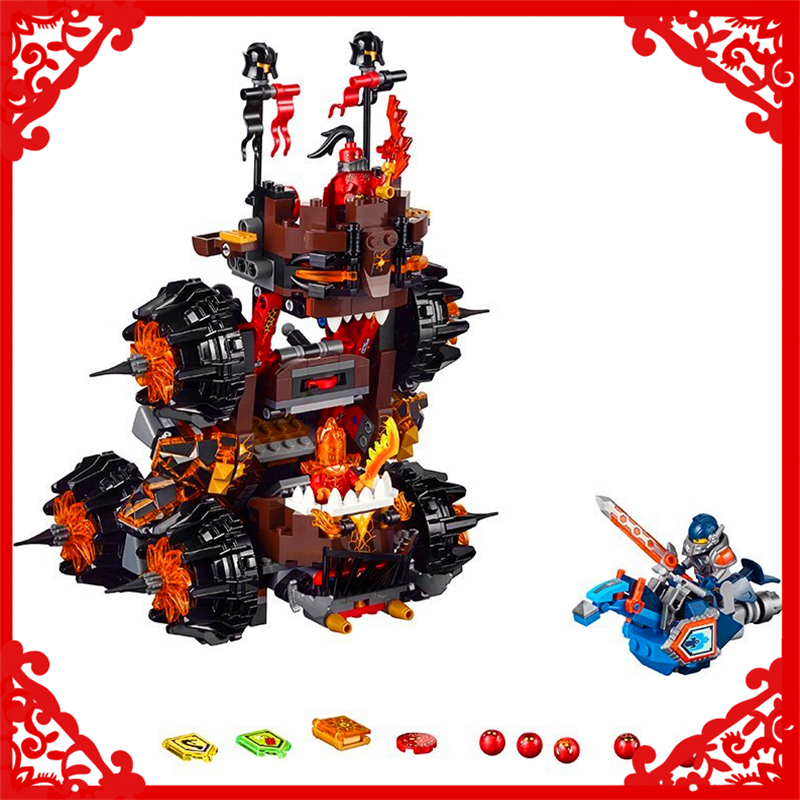 LEPIN 14018 Nexo Knights Axl General Magmars Siege Building Block Compatible Legoe 544Pcs   Toys For Children Compatible Legoe lepin nexo knights axl general magmars siege machine of doom model building blocks diy figure toys for children compatible legoe