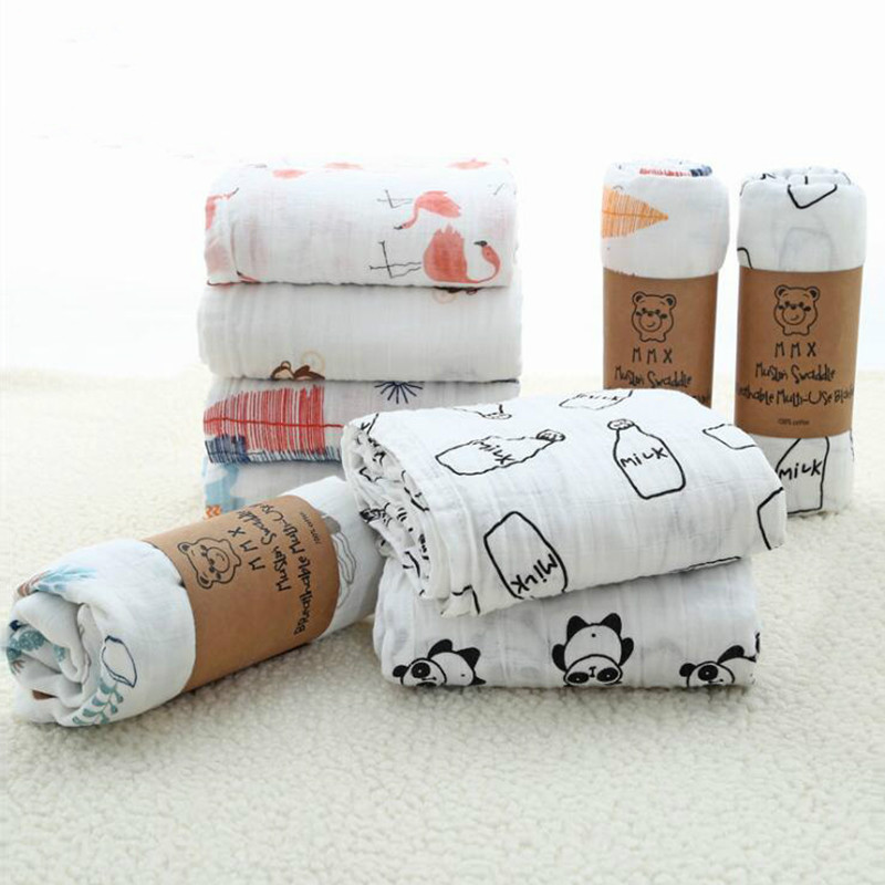 100% Muslin Cotton Blankets For Kids Dinosaur Unicorn Patterns Multi-use Newborn Swaddle Infant Gauze Both Towel Baby Wrap