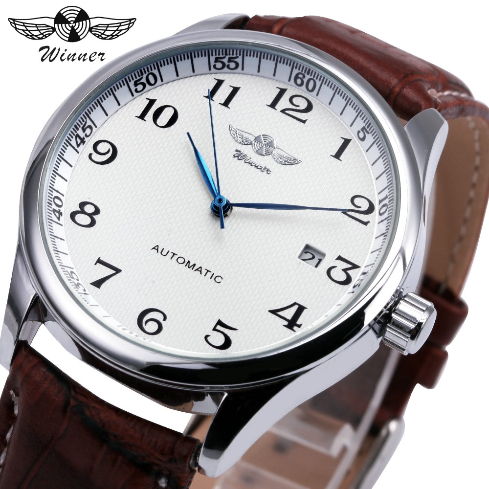 WINNER Fahison Dress Men Auto Mechanical Watch Arabic Number Date Display Brown Leather Strap Milimalist Wristwatch montre homme guanqin men auto mechanical watch water resistance luminous pointer date 24 hour display transparent back cover wristwatch